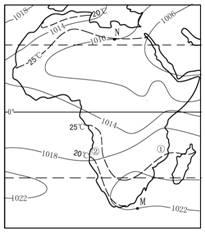 """读图""""非洲某月海平面气压(单位:hpa)和非洲年平均图片"""