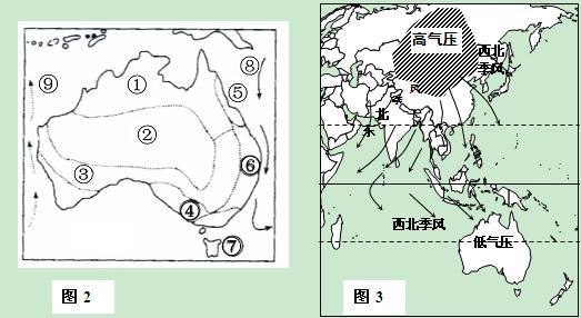 读图2澳大利亚图和图3季风环流图,回答