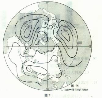 图3为某月海平面平均气压分布图.读图图片