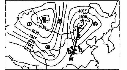 下为我国某日海平面气压(hpa)分布示意图(局部)图片
