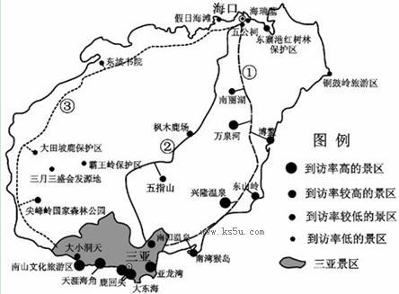 图15为海南岛旅游资源分布图.读图回答问题(12分)