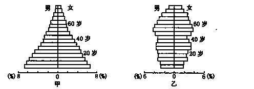 """下图为""""甲,乙两类国家人口年龄结构金字塔图"""".图中了"""