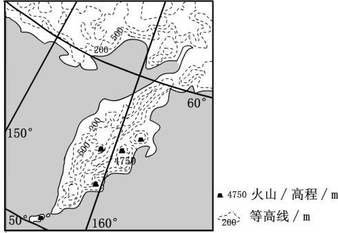 下图为某半岛地形图.读图完成4~6题