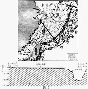 图17为东海及其附近海底地形图和海底地形剖面.读图回答下列问题.