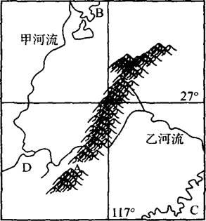 """下图为""""我国东南某区域简图"""",根据图中信息,回答下列问题"""